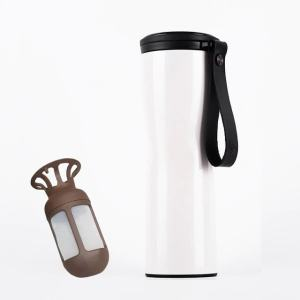 Travel Mug Coffee Tumbler Vacuum Bottle Touch Temperature Display Gray White Black