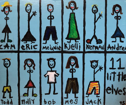 """Painting of 11 Caffe Ladro baristas named """"11 Little Elves"""""""