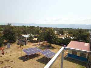 Newly installed Solar panels at the St. Stella Maris Health Centre III Water Pump in Ntoroko