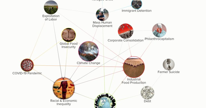 A web explaining Crisis Convergence in Globalized Food Systems