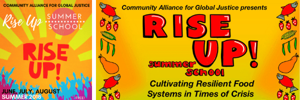 """Banner with text from past two Summer Schools: """"Rise Up Summer School"""" and """"Cultivating Resilient Food Systems in Times of Crisis"""""""
