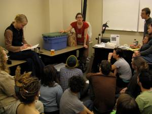 Participants learn how to create their own worm bin