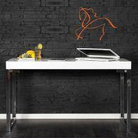Schreibtisch PRINCETON Weiß Hochglanz 120cm