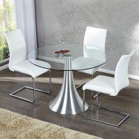 Esstisch RONDA mit Glasplatte und Tulpenfuß aus Aluminium 110cm Ø