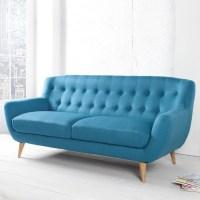 Retro 3er Sofa GÖTEBORG Petrolblau-Eiche im skandinavischen Stil