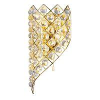 Wandlampe ELISE goldfarbig mit echten Kristallprismen 3-flammig links abfallend