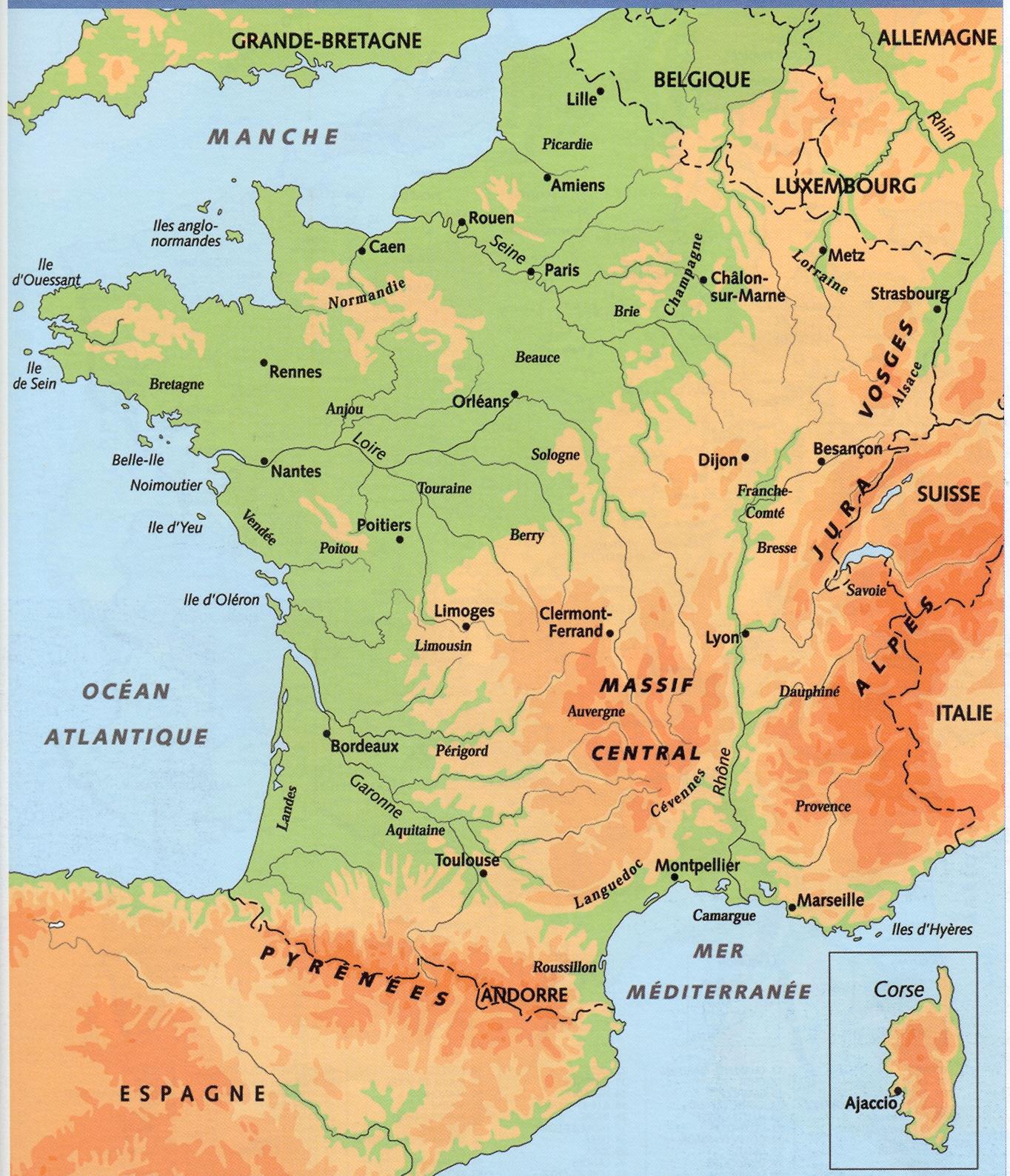 Carte Geographique De La France Le Cahier Du Fle