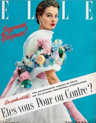 モデル:キャプシーヌ。ホワイト・フラワー・ガウン。ジバンシィが初めてモード誌の表紙を飾る。ELLE 1953年3月16日号。
