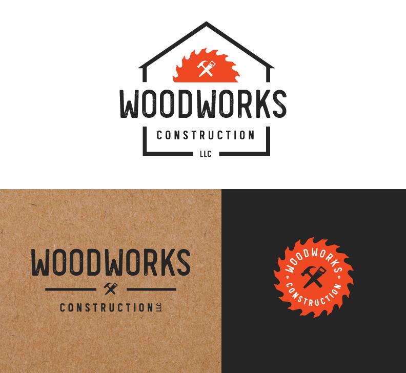 Woodworks Construction LLC Logo Design