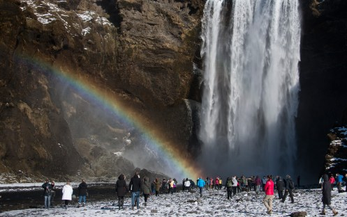 If the sun is out, you will see a rainbow coming out of Skógafoss waterfall.
