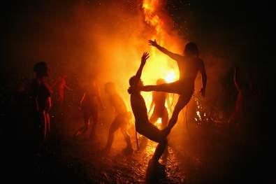 Beltane fire festival in Edinburgh on Carlton hill.
