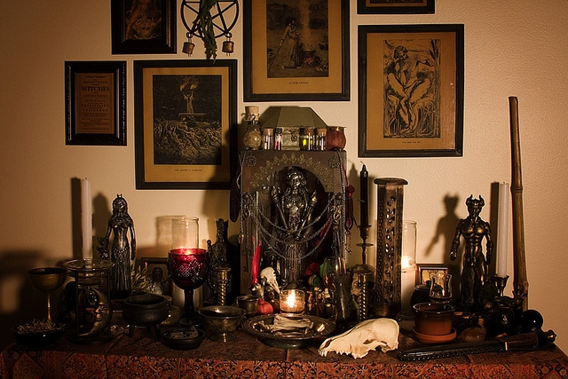 a modern witches altar witchcraft tools or folk practitioner tools