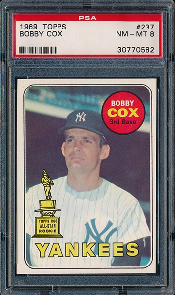 Bobby Cox pictured on this baseball card in his New York Yankee uniform won his 2000th game as a manager in a 7-6 Braves victory over the Pirates that lasted 15 innings.