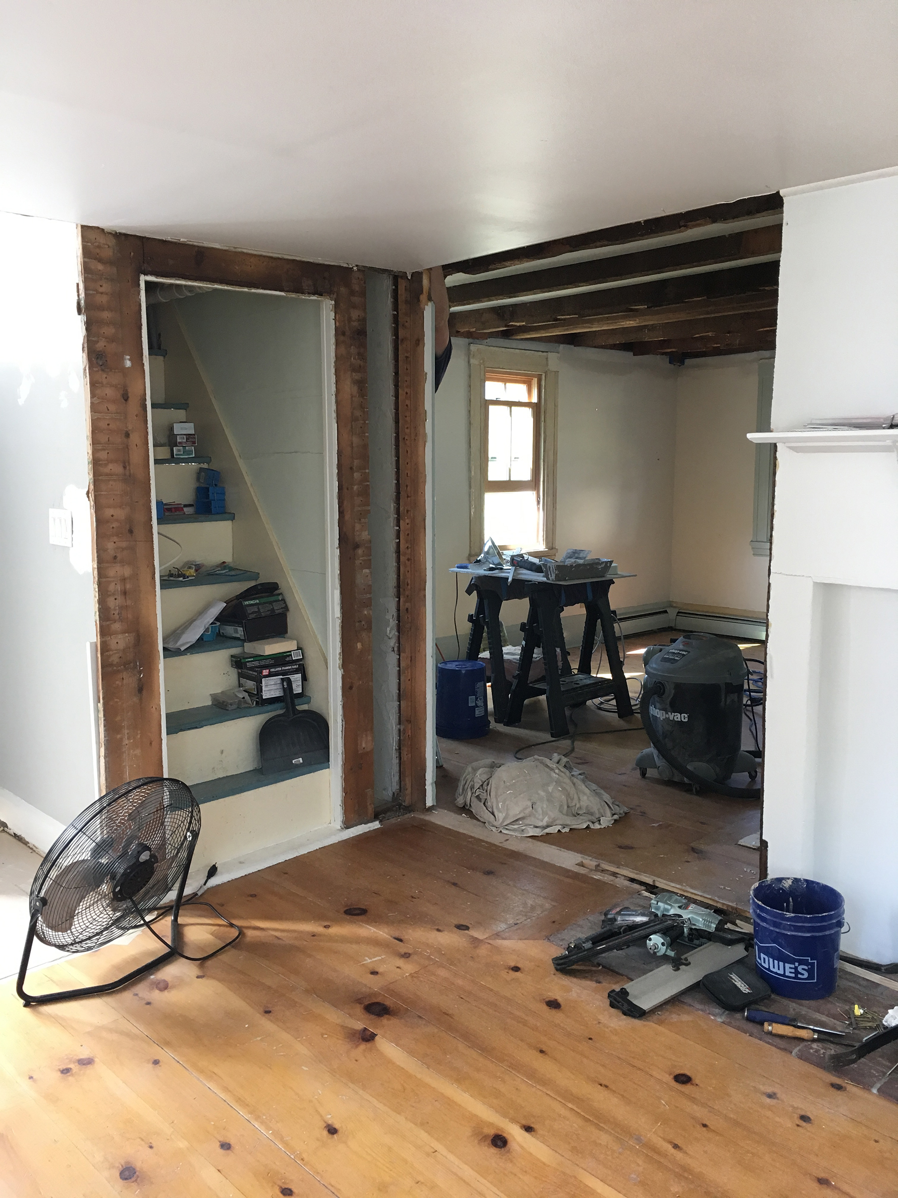 We Started By Removing The Door And Trim, And Converting The Small Doorway  To The Living Room Into A Cased Opening (read: Gaping Hole).