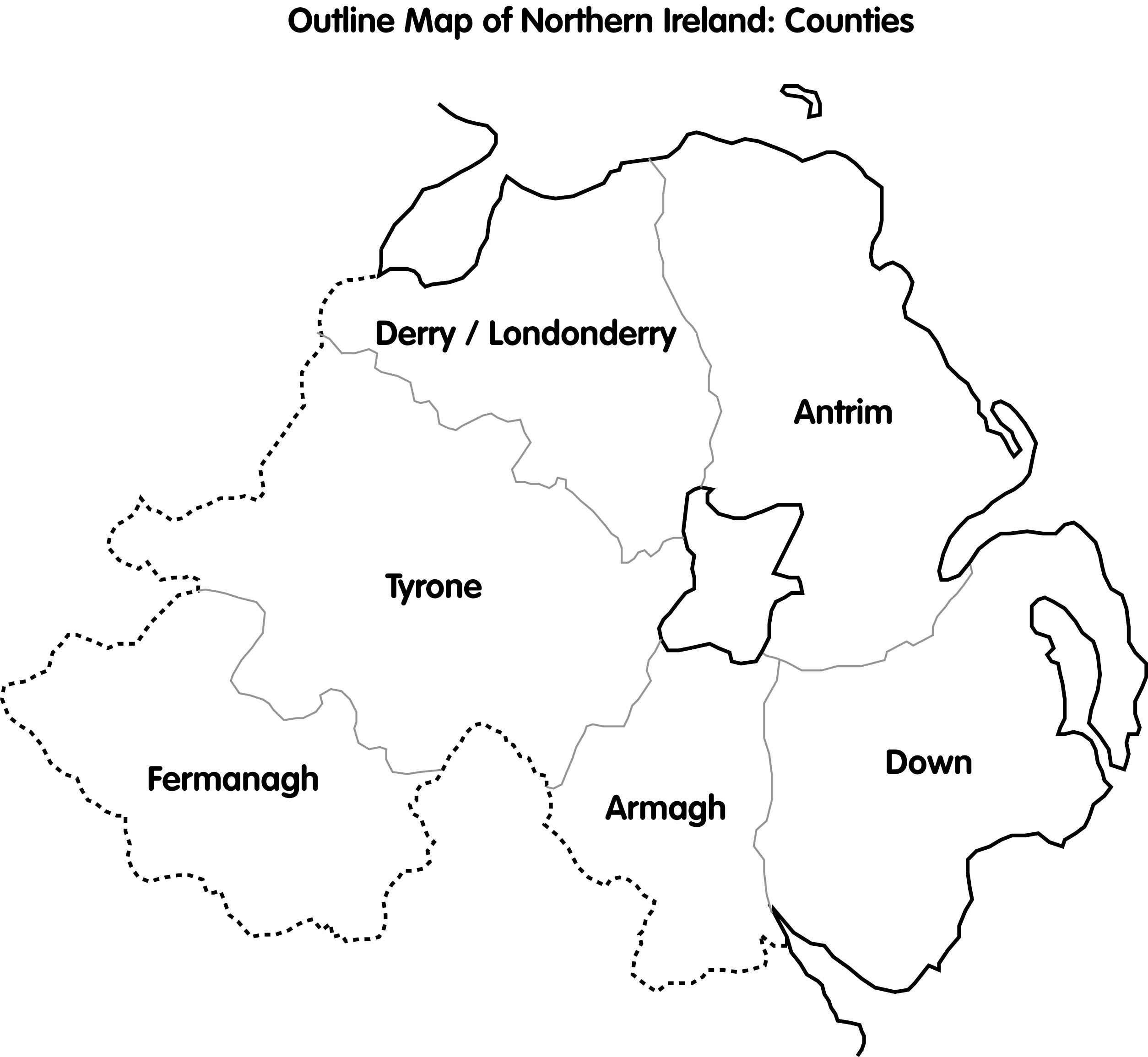 Outline Map Northern Ireland Counties