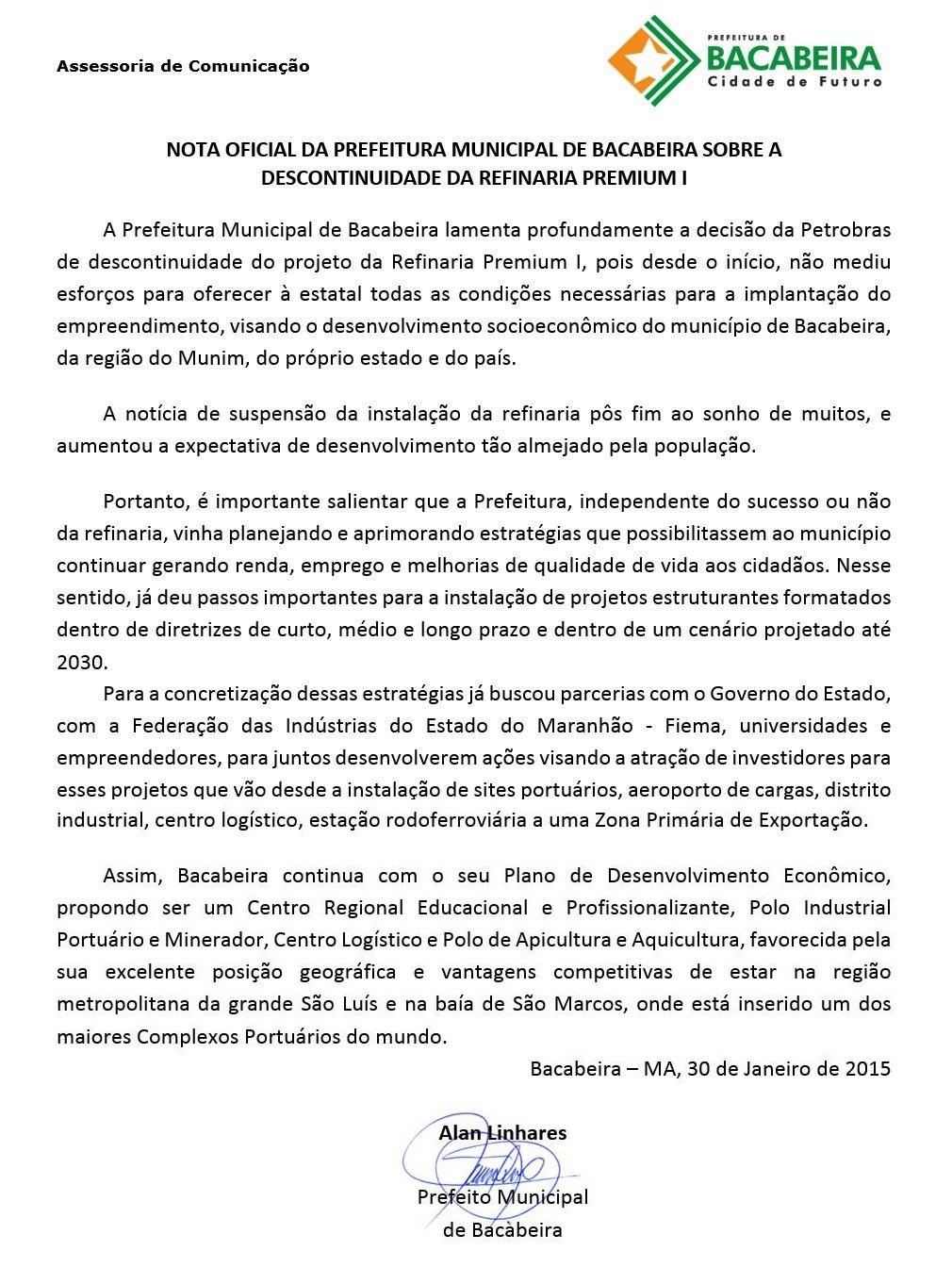 NOTA PREFEITURA DE BACABEIRA