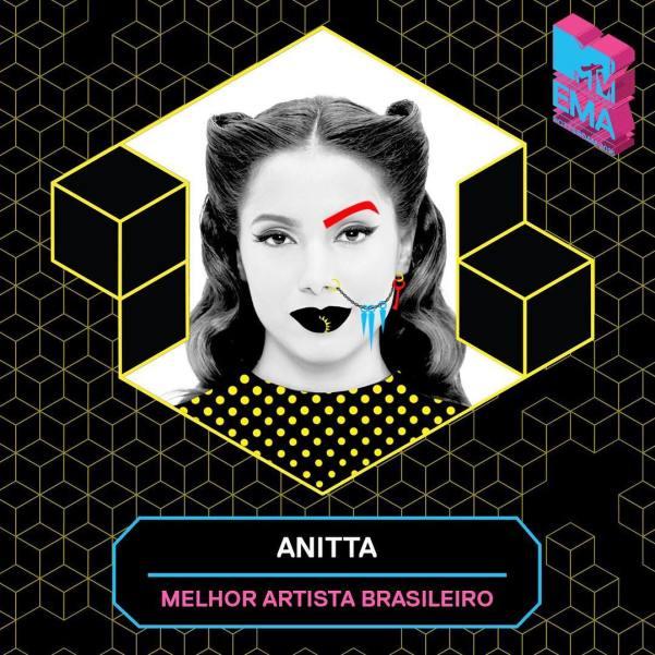 Anitta ganha o prêmio mais uma vez. Foto: Reprodução/MTV