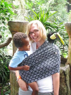 Joy with Oliver and a Toucan