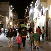 Walking the streets at night.