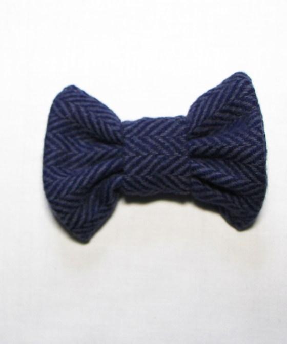Navy Blue Tweed dog bow tie