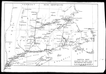 Map of a colonial road between Boston and New York