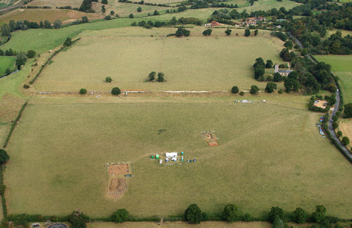 Here's the site. Trench 1 on the left, tent on the middle and trench 2 on the right. The church trench is nest to the church