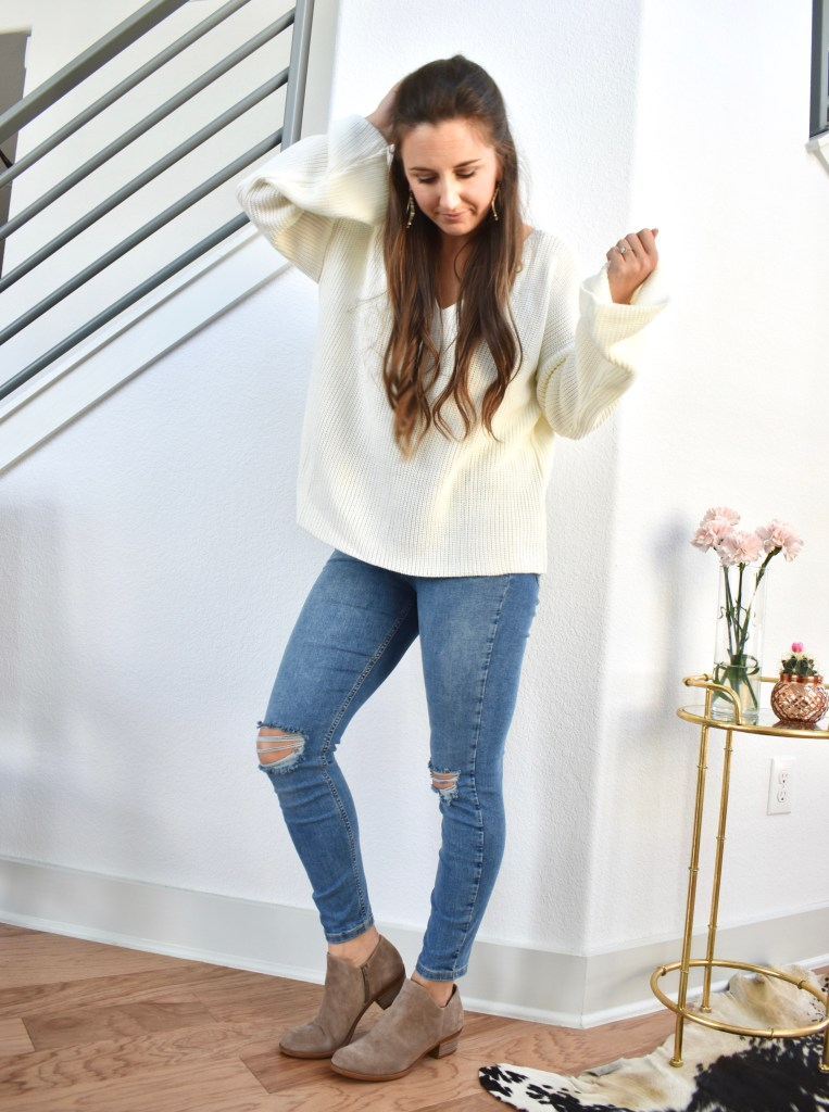 oversized white sweater, distressed skinny jeans, lucky brand booties