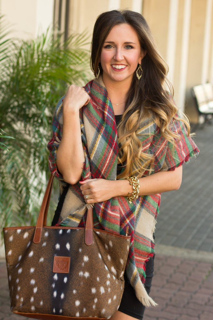 Classic plaid scarf with Axis deer print bag