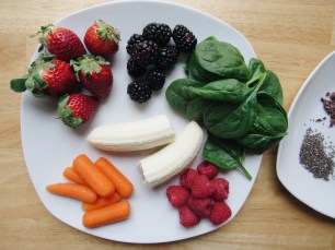 Berries, banana, spinach and carrots
