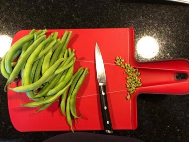 Stems cut off fresh green beans for Dilly Beans