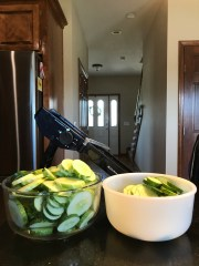 Sliced cucumbers to make Easy Bread & Butter Pickles