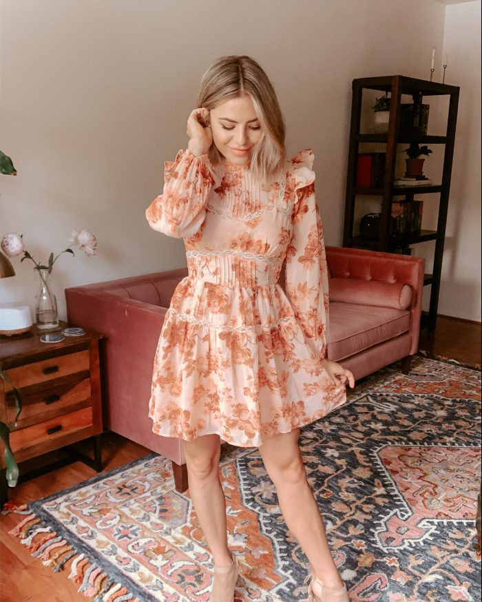 Asos, Floral Spring Dress, date night dress, frilly dress, shoulder accent dress
