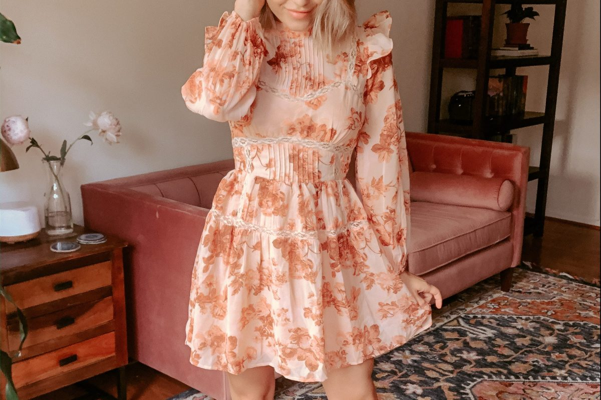 Asos, Floral Spring Dress, date night dress, frilly dress, shoulder accent dress