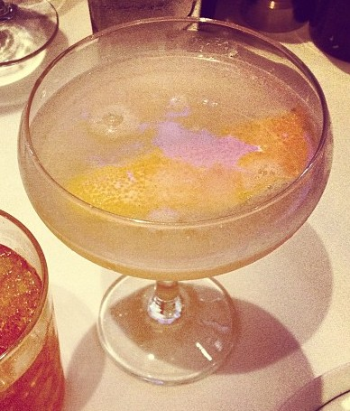 Avion Silver tequila, St Germain, cinnamon syrup, grapefruit and lime juices, smoked cinnamon stick