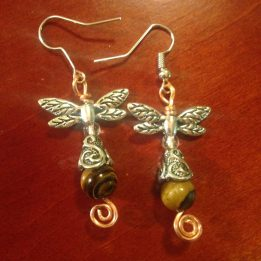SOLD Silver Dragonfly wings, antiqued silver caps on tiger eye beads on copper curlicues