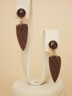 18K Garnet and Apache Hills Jasper Earrings, posts