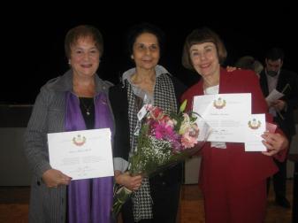 The women of CAJM- Karen Mock, Samira Kanji and Barbara Landau. — with Karen Mock and Barbara Landau.