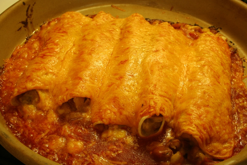 Bean and Corn Enchiladas