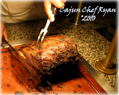 Carving station with a rib roast on buffet, sliced to order