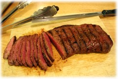 Slicing the flat iron steak