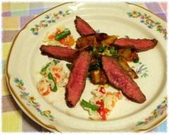 Flat iron steak plated