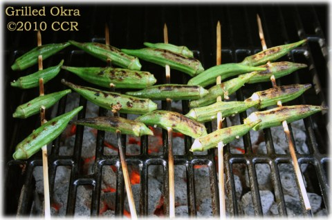 Okra on the coals, closer view