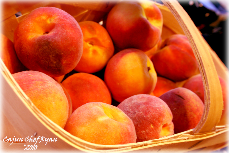 A basket full of peaches