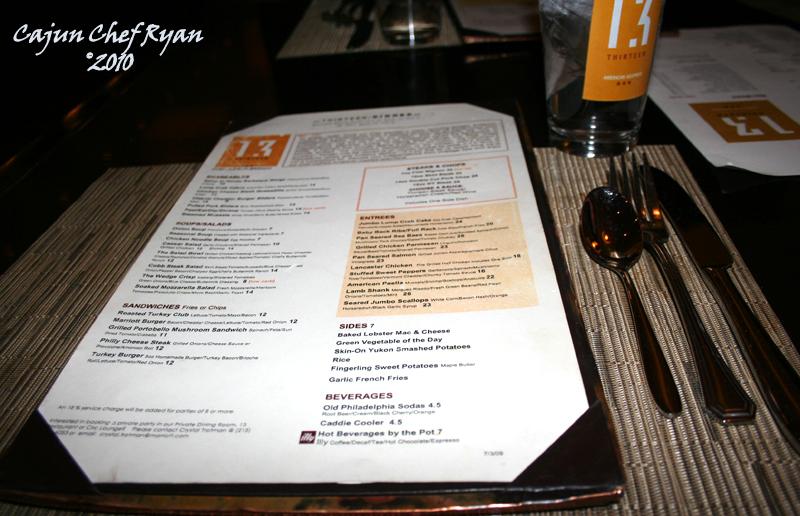 13 Restaurant Menu