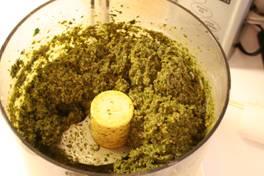 Basil Pesto in processor bowl