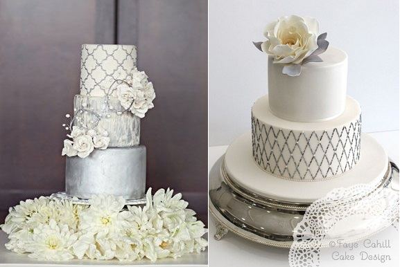 Silver Anniversary Cakes   Cake Geek Magazine silver wedding anniversary cake by Faye Cahill Cake Design right and  quatrefoil cake design via Pinterest