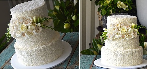 Freesia Wedding Cakes for Spring   Cake Geek Magazine coconut wedding cake by All Things Sweet by Carissa