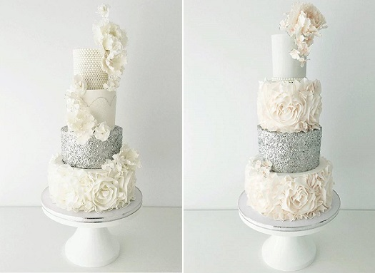 Silver Sequins Wedding Cakes   Cake Geek Magazine Silver sequins  ruffles  pearls and sugar flower glamor wedding cakes from  Jenna Rae Cakes