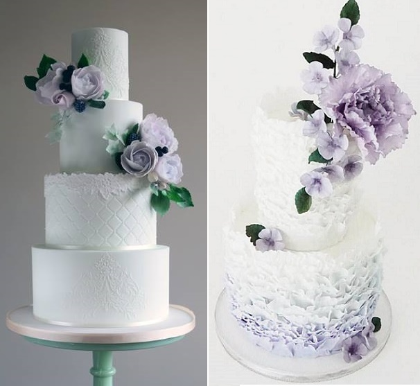 Purple  Lilac   Lavender Wedding Cakes   Cake Geek Magazine Lilac and lace wedding cake by Amelie s Kitchen left  lilac and ruffles by  Jenna Rae