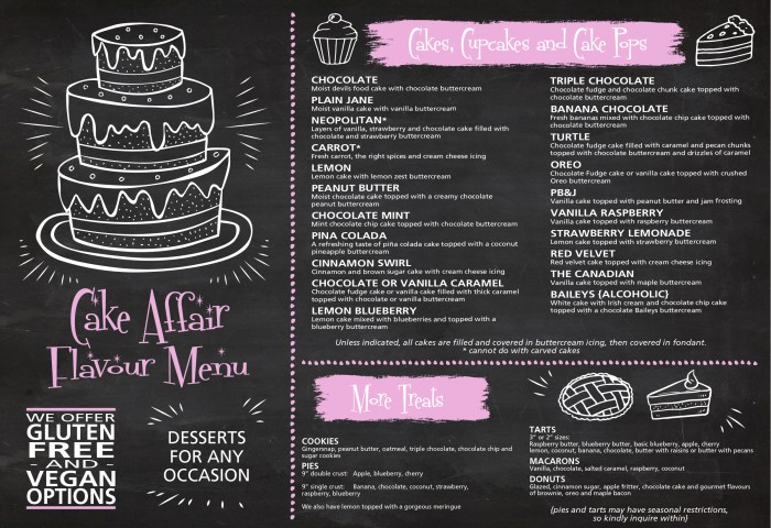 Flavour Menu Cake Affair Cakes Cupcakes Dessert Tables And More
